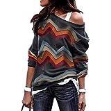 LAIKETE Sweatshirt Col Bateau Femme Boheme Hippie Pullover Geometrique Haut a la Mode...