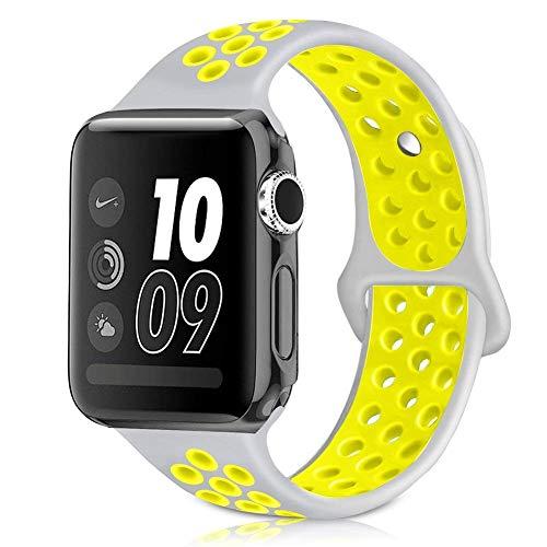 MouKou Remplacement Bracelet pour Apple Montre Watch 38mm 40mm iWatch Série 4/3/2/1 Brassard Sport en Silicone M/L