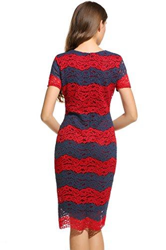 ANGVNS Damen Rundhals Kurzarmes Etuikleid Knielang Spitzenkleid mit floraler Spitze und Streifen Größe 42-44 Rot und Blau -