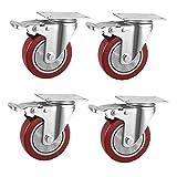 Anyke Ruote per Il Trasporto Industriale Ruote Rotelle Girevoli per Sedie da Ufficio Ruote per Mobili Carrelli (Rosso 100mm (4') - Cuscinetto Singolo)
