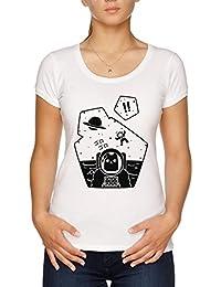 Vendax Christobelle Purrlumbus Inconsciente de Explorador de Espacio Camiseta Mujer Blanco