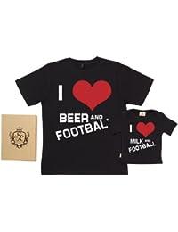 Spoilt Rotten - I Love Beer, Milk & Football - Organic Dad & Son Baby Gift Box Set