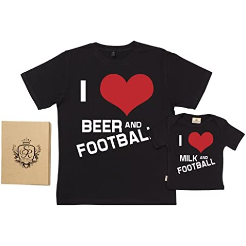 Spoilt Rotten - I Love Beer, Milk & Football - Organic Dad & Son Baby Gift Box Set