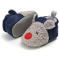 Zapatos Bebe Invierno, Botitas Bebé Recién Nacidos Niña Niño Botas Zapatos Calientes Botines Primeros Pasos Invierno 0-18 Mes (6-12 Meses, D_Gris/Azul)