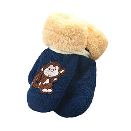 Handschuhe Longra, Nette verdicken heiße Säuglingsbaby-Mädchen-Jungen der Winter-warmen Handschuhe(1 bis 8 Jahren) (Navy) (Handschuhe Antwort)