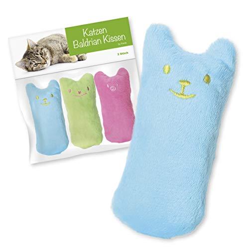 FORCK Cuscino in valeriana (3 pezzi), cuscino per coccole con valeriana extra naturale per coccolarsi e giocare | Gioco naturale per gatti e gattini adatto a tutti i gatti e gattini
