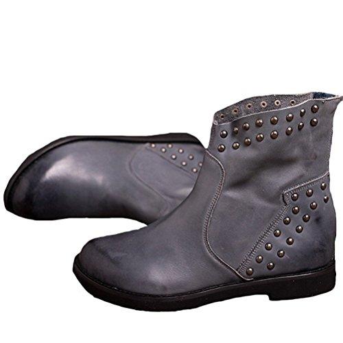 Vogstyle Damen Mode Abgerundete Topline Beschlagene Stiefel Reißverschluss Hinten Lederstiefel Grau
