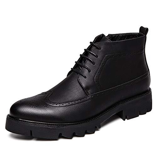 Herren Schnürschuh Martin Stiefel hohe Spitzen Arbeiten im Freien Business-Boot aus Leder Schnürschuhe Schuhe mit seitlichem Reißverschluss Knöchel Stiefel Größe 38-46,Black,44 -