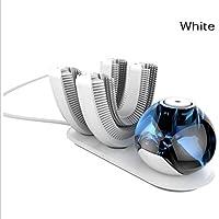 MNII automatische Zahnbürste entwickelt für die faule, elektrische Zahnbürste drahtlose wiederaufladbare 360-Grad-automatische Zahnbürste, mit 2 Zahnbürstenköpfe, white- Faule Zahnbürste