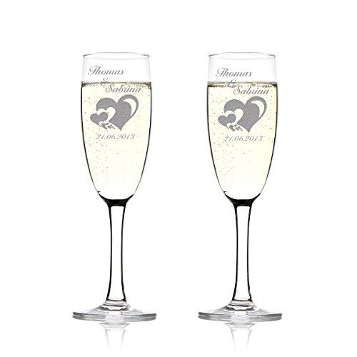 Set de verres de champagne avec gravure Motiv - de nombreux cœurs en parties