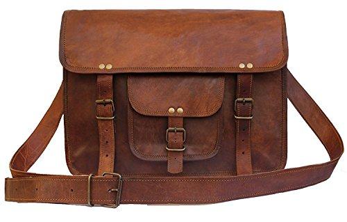 FAIRKRAFT Umhängetasche Laptoptasche 13 Zoll Ledertasche Vintage Ledertasche Unitasche Collegetasche Lehrertasche Bürotasche Arbeitstasche Aktentasche Henkeltasche Groß Braun