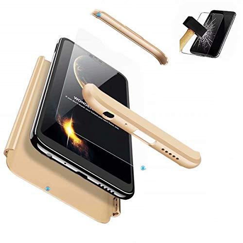 HUOCAI Funda Xiaomi Redmi 5 Plus Cubierta de 360°Caja Protección de Cáscara Dura Anti-Shock Anti-Rasguño del Protector Completo del Cuerpo 3 in1 Caso Mate+ Vidrio Templado(Dorado