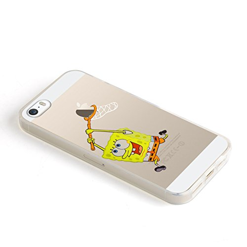 iPhone 5 Hülle, JAMMYLIZARD Transparentes Sketch Back Cover aus Silikon mit Muster für iPhone 5 / 5s & SE, TINKERBELL SCHWAMM