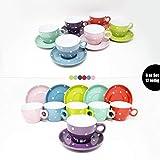 DRULINE 6er-Set DOTS Kombiservice Color: Kaffeetasse 9 x 6,5 cm & Untertasse Ø 14,5