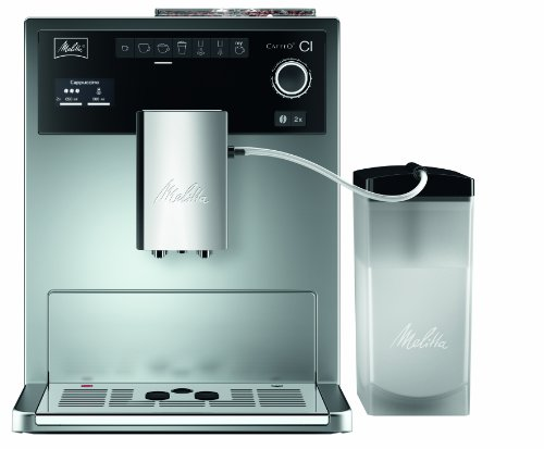 Melitta Caffeo CI E 970-101, Kaffeevollautomat, One-Touch-Funktion, LCD-Display, Milchbehälter, Silber
