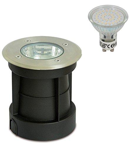 Trango Spot à encastrer dans le sol, Éclairage d'allée, IP65, Rund inkl. LED Leuchtmittel, GU10 3.00W