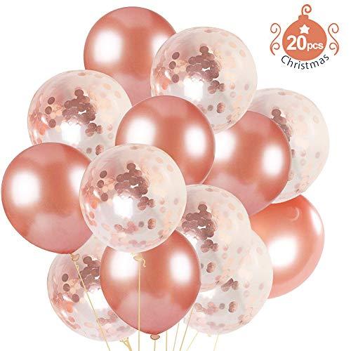 VAMEI 20pcs Globos de Confeti de Oro Rosa Mezclado de Globos de Oro de Champagne con 1 Rollo de Cinta Dorada para Decoraciones o Festivales de la Fiesta de cumpleaños de la Boda
