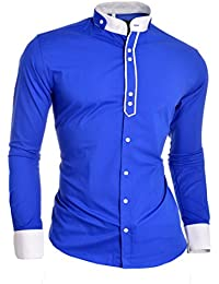 D&R Fashion Designer Men's Shirt with Double Cuffs and Grandad Band Collar Cotton