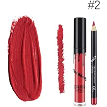 Kiss Beauty Matte Liquid Lipgloss Lipstick and Lip Liner with 2 Shades (7652-2)