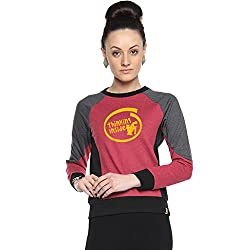 Campus Sutra Maroon Womens Combination Printed Sweatshirt (AW15_HTRI_W_TI_MA_XL)