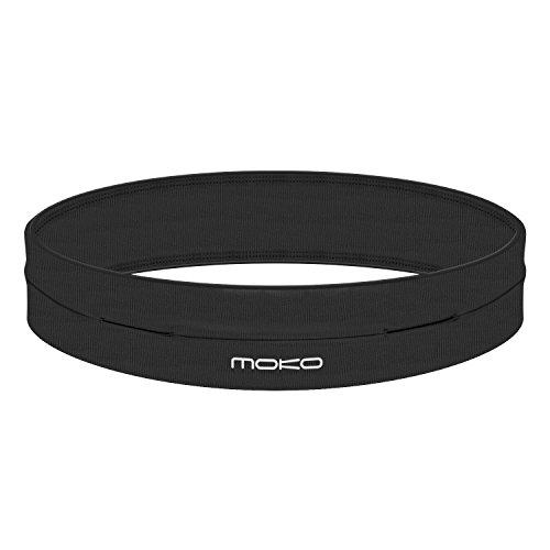 MoKo Riñoneras Belt Universal - Deportivo Cinturón de Correr de 4 Bolsillos para Ejercicios, Fitness, Gimnasio para iPhone 7 / 6S / Galaxy J3 / S6 / S7 Edge, Negro ( M - 28.7'-32.3')