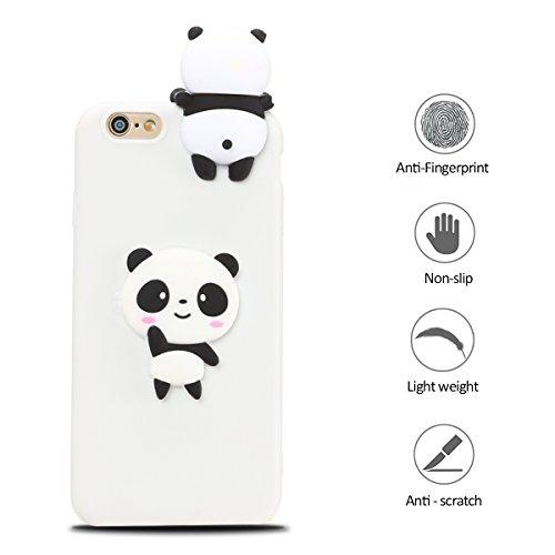 iphone 6 Plus Hülle, iphone 6s Plus Schutzhülle Einfarbig, 3D Weißer Panda Muster Design Handy Hülle für iphone 6 6s Plus (5.5 Zoll), Ultra Dünn TPU Weich Silikon Handycover Schale Schutzhülle Ultradü Weißer Panda
