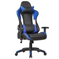 Gaming Chefsessel Racing Bürostuhl Schreibtischstuhl Drehstuhl Stuhl Bürosessel Sportsitz höhenverstellbar drehbar (Blau)