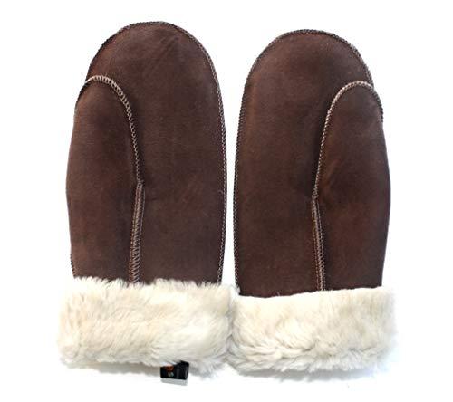 Lammfell Handschuhe Fäustlinge Damen - Herren, Farbe dunkel braun- mit beigen Fell, Aus edlen Spanischen Merino Schaffellen, Größen siehe Produktbeschreibung unten