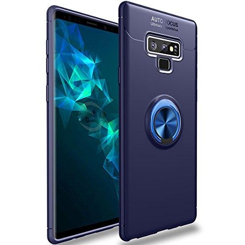 WATACHE Galaxy Note 9 Hülle, Slim Fit Heavy Duty weiche TPU Hülle mit Metall Fingerring Grip Halter Ständer [Support Magnetic Car Mount] für Galaxy Note 9 (Blau) Cellular Glass Mount