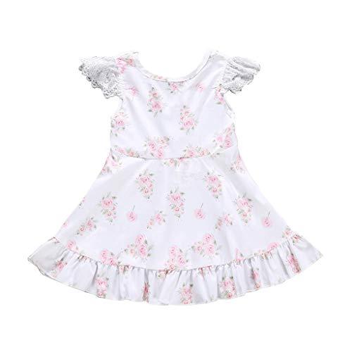 Prinzessin Kleid Pwtchenty Dresses for Girls Ärmel Blumendruck Spitze Rüschen Kleider Sommer Kurz Strand Sommerkleid Partykleid Freizeitkleider