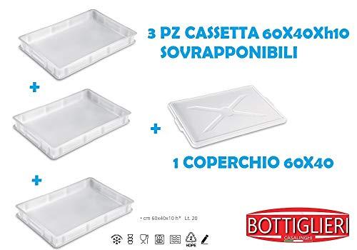 BOTTIGLIERI CASALINGHI Tris Cassetta Portaimpasto Service 60x40xh10, Sovrapponibili con 1 Coperchio