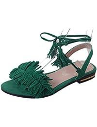 FEITONG Mujer Tacones Strappy Zapatillas Ropa de boda Cruz de corte bajo Hebilla Zapatos