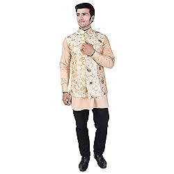 Veera Paridhaan Mens Printed Beige Raw silk Banarasi Nehru Jacket