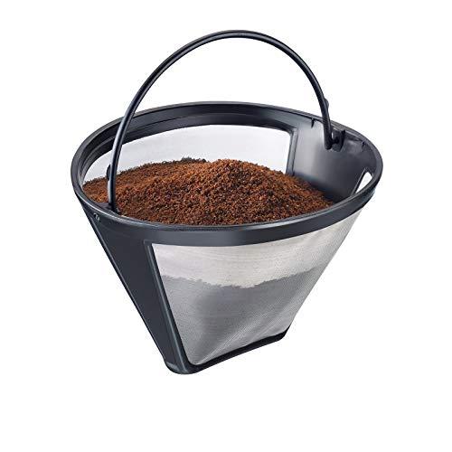 Westmark Dauer-Kaffeefilter, Für 8-12 Tassen Kaffee, Filtergröße 4, Mit Edelstahlgewebe, Kunststoff, Schwarz/Silber, 24432260