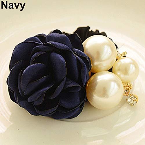 Makwes Lady Girl Chic Sweet Rose Blume Faux Pearl Stirnband Pferdeschwanz Inhaber Haarband,Haargummis für Mädchen Damen Lady, Haarschmuck, Beauty Haarband- Navy -