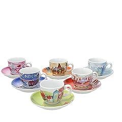 Idea Regalo - Tognana IR085343381 Set Tazzine caffè Iris City, Porcellana, 6 unità