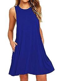 a6998ddc43743 Mujeres Casual verano sin mangas vestido de playa con bolsillo t-shirt  vestido túnica Mini