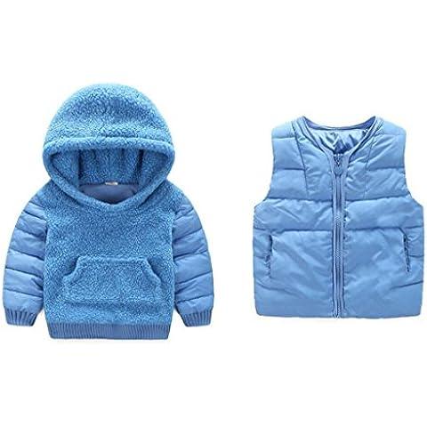 Vine 2 Piezas Bebé Sudaderas con capucha + Chaleco Chaquetas Niños Abrigos con Capucha Niñas Trajes de Invierno Grueso Cálido Ropa de