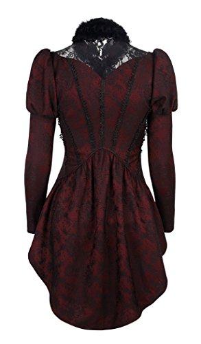 Chemise rouge à dentelle noire, manches bouffantes gothique élégant victorien Punk Ra Noir