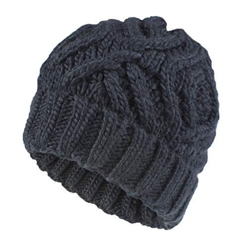-Mütze gefüttert mit Fell-Bommel, Kunstfell, Winter-Mütze, Bommelmütze Damen Strickmütze mit Fellbommel(Schwarz) ()
