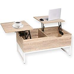 Mesa de café extensible con 2Compartimentos Ocultos de Almacenamiento