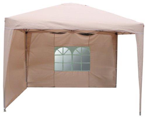 Wasserdichter Aluminium-Faltpavillon 3 x 3 Meter mit 2 Seitenteilen beige