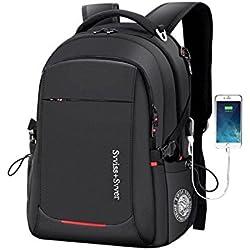 Ammon Lowen Laptop Rucksack 17 Zoll Business Backpack Damen Herren Tagesrucksack Mit USB Ladeport 35/40 Liter für Herren Männer Reise Büro