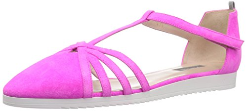 SJP by Sarah Jessica Parker Women's Meteor Closed Toe Ankle Strap Flat, Candy Pink Suede, 37.5 B EU (7 US) -