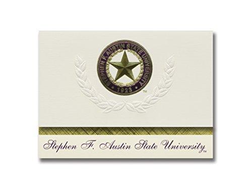 Signature Ankündigungen Stephen f. Austin Staatliche Universität Graduation Ankündigungen, platin Stil, Elite Pack 20mit Stephen f. Austin State u. Dichtung Folie