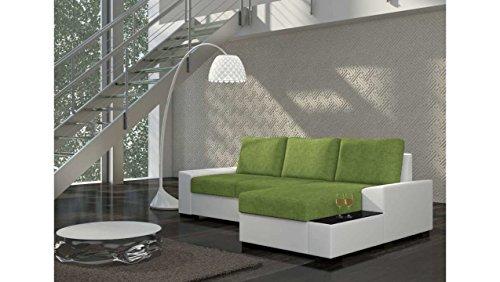 JUSTyou Negro Canapé d'angle Sofa canapé lit Tissu structuré Cuir écologique (HxLxl): 83x245x160 cm Blanc Vert Angle droit