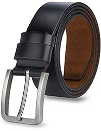 MPTECK @ Nero Cintura in vera pelle 120cm per Uomini uomo regolabile cinghia di cuoio fibbia per lavoro formale casuale