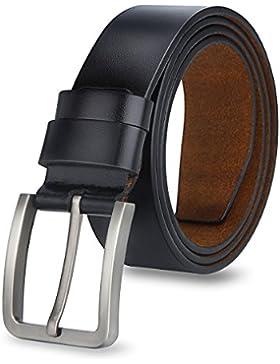 MPTECK @ Negro Hombres Cinturón de Cuero Correa Cinturones 120cm Diseñado para caballero hombres Adulto cintura...