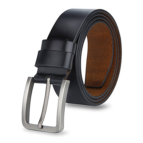 MPTECK @ Negro Hombres Cinturón de Cuero Correa Cinturones 120cm Diseñado para caballero hombres Adulto cintura normal cintura cinturón Prenda para hombre Negocio formal ropa casual