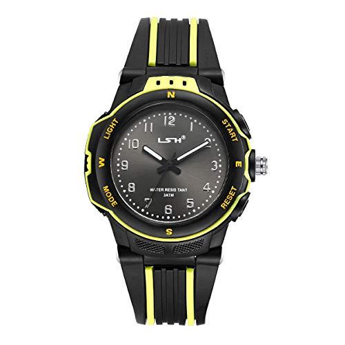 Kinder Analoge Uhren,Jungen Mädchen Armbanduhr Wasserdichte Leicht zu Lesen Zeit Weicher Riemen Armbanduhren Geschenk für Kinderuhr(Schwarz)